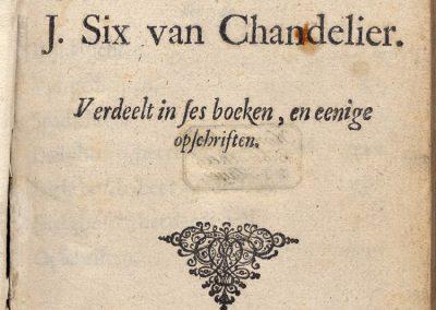 Six van Chandelier, J. - Poesy, KB 841d22_titelpag